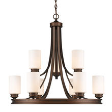 Golden 1051-9 SBZ-OP - 2 Tier - 9 Light Chandelier