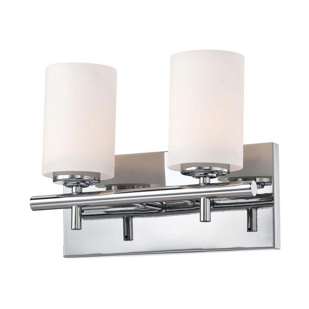 Barro 2 Light Vanity In Chrome And White Opal Gl